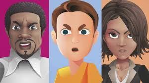 Dibujo de tres personas, de distintas razas y sexo, mirando al frente con mal gesto