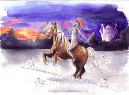 el caballero de la armadura oxidada, caballero con armadura sobre caballo haciendo cabriola, dibujo