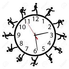 dibujo icónico en blanco y negro, iconos de muñecos corriendo alrededor de la esfera de un reloj