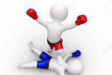 icono de dos boxeadores, el rojo pone el pie sobre el azul, derribado
