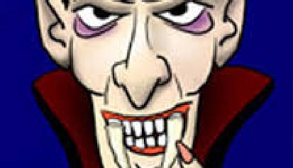 dibujo de vampiro señalándose un colmillo