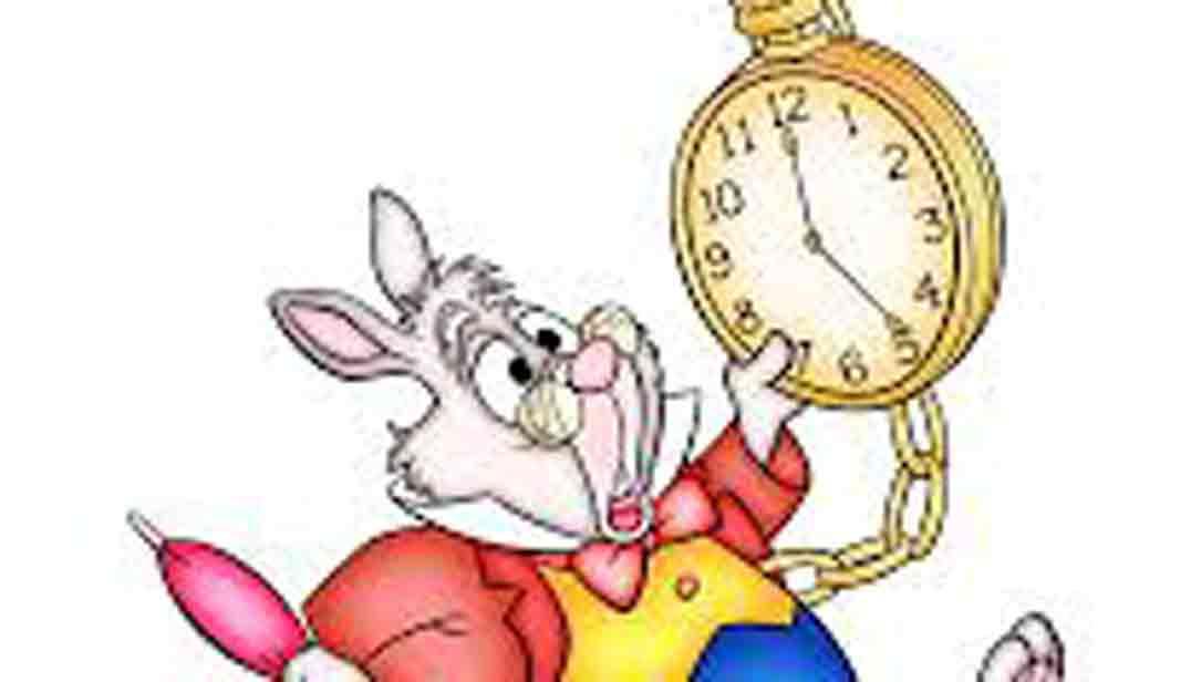 dibujo conejo de alicia, película de dibujos disney, corriendo con reloj en la mano