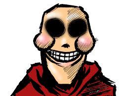Dibujo caricatura feista de persona sin ojos sonriendo artificialmente