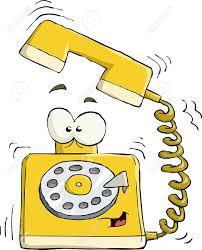 Dibujo comic gracioso de teléfono con ojos asustándose de llamada