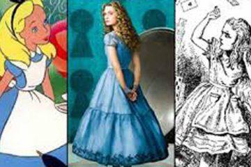 Tres imagenes de alicia, de Lewis Carrol. La peli de dibujos de Disney, la de Tim Burton y la del libro