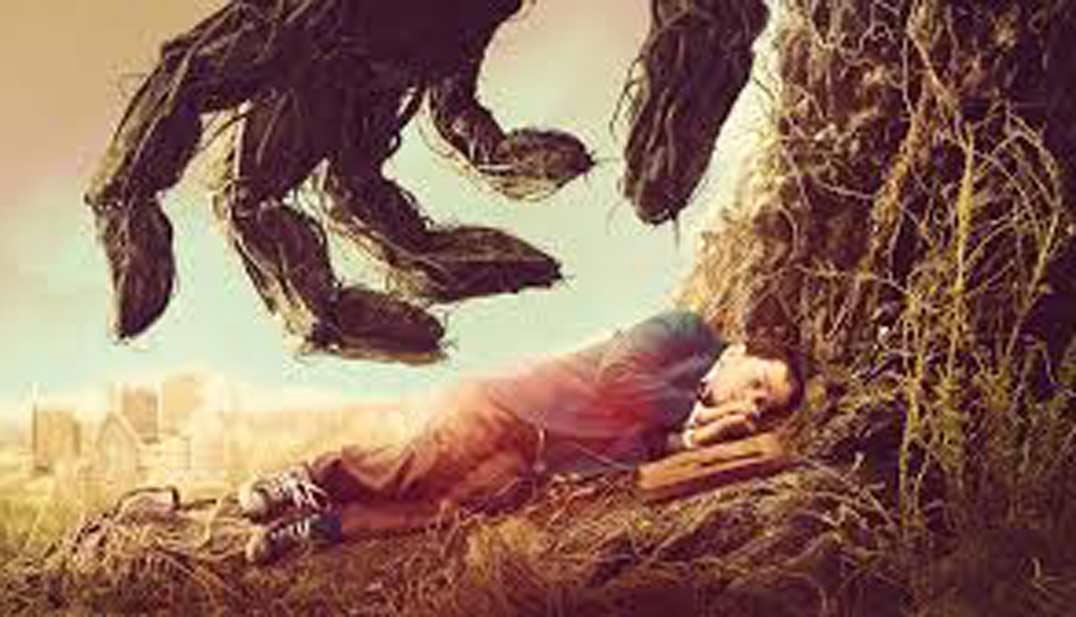 protagonista dormido en pelicula un monstruo viene a verme, cartel