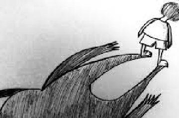 niño de espaldas con sombra de monstruo, dibujo para un artículo del blog literario lluvia en el mar