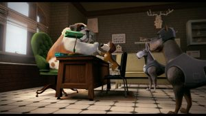 Despacho del alcaide, perro san bernardo y protagonista chocan la mano en la película Ozzy, en el artículo de crítica del blog literario