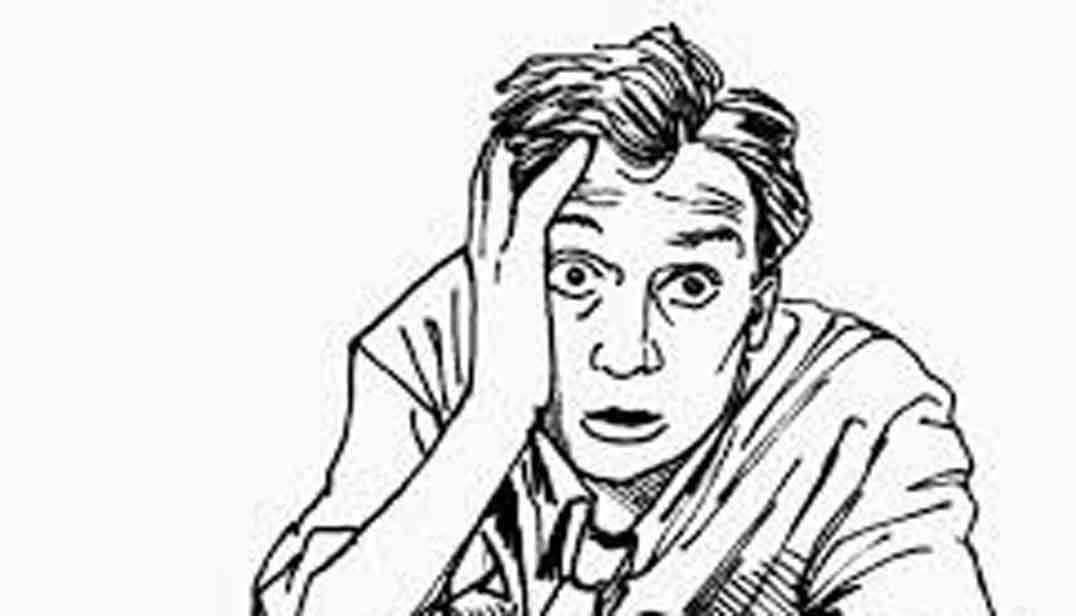 Dibujo en blanco y negro de hombre asustado o preocupado
