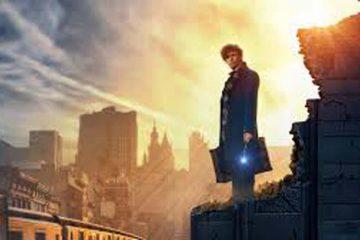 Eddie Redmayane en lo alto de tejado con atardecer a contraluz en la película animales fantásticos y dónde encontrarlos