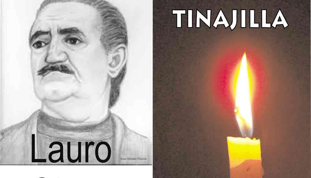 Portada del video audiolibro Tinajilla, de Lauro Olmo, imagen de lauro Olmo y vela logo con título y autor