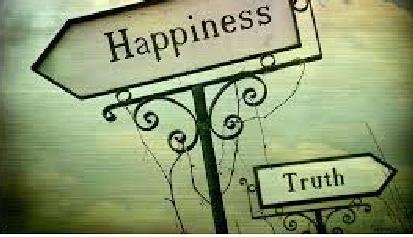 Dibujo de dos carteles señalando direcciones opuestas, el grande señala la felicidad, el pequeño la verdad