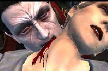 Dracula mordiendo el cuello de mujer, el cuello sangra
