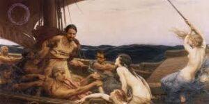 Ulises atado al mástil de un barco, seducido por las sirenas