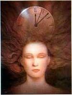 composición pictórica, rostro de mujer con ojos cerrados y sobre ella un reloj