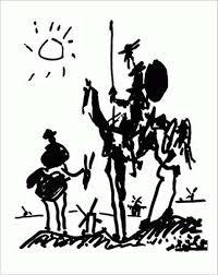 Dibujo de Carlos Saura de Quijote y Sancho