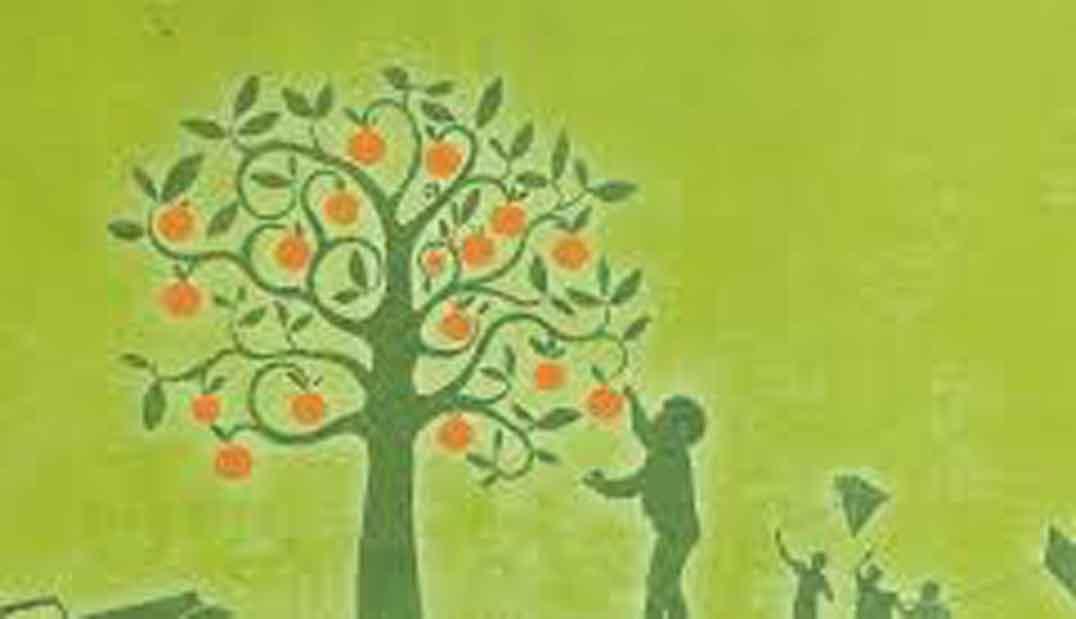 dibujo de planta verde oscura con frutos rojos y silueta verde oscura de niño cogiendo un fruto, fondo verde claro, para crítica de la novela mi planta de naranja lima,