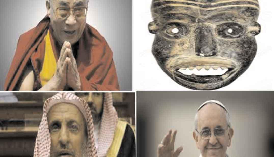 El dalai lama, una máscara religiosa africana, un imán musulman y el papa francisco, composición de cuatro fotos