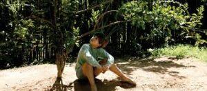 foto de niño sentado en el suelo mirando una planta, fotograma del filme para crítica de la novela mi planta de naranja lima,