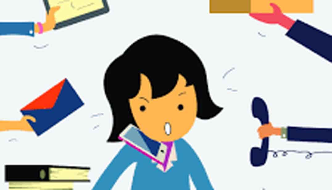 Dibujo de mujer sentada, hablando por telefono, muy ocupada, muchas manos la enseñan objetos, la encargan trabajo
