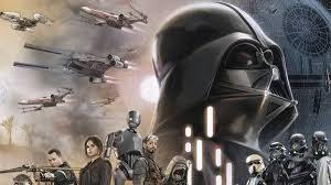 Busto de Darth Vader en una fotocomposición con personajes y naves de la Guerra de la Galaxias