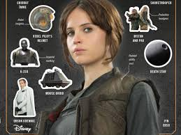 Felicity Jones en Rogue One, en una fotocoposición con iconos de la película