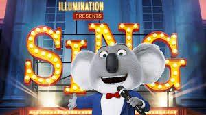 Ratón cantando, sobre fondo de cartel de Sing, personaje de Canta, película de dibujos
