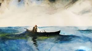 Pintura, cuadro de barca en el mar con hombre