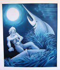 Dibujo en tonos azules de viejo musculoso pelando con pez espada bajo la luna llena