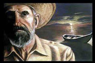 Dibujo de hombre en primer plano con sombrero de paja y barca y mar al fondo