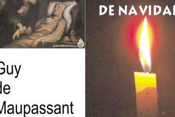 Portada de audiolibro de Youtube Cuento de navidad, de Guy de Maupassant, composición con vela y foto de viejo moribundo