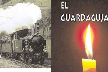 fotocomposición con imagen de vela y tren y texto el guardagujas, cuento de Juan José Arreola