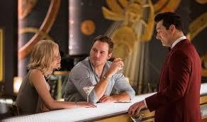 Passengers, protagonistas, JESSICA LAWRENCE y Chris Pratt en el bar con el camarero robot Arthur