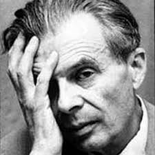 Fotografía, rostro de Aldoux Huxley con la mano en la cara