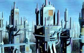 Dibujo de una ciudad del futuro, tonos azules