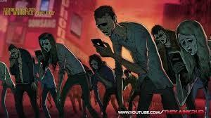 Grupo de zombies caminando encorvados mientras miran los móviles, dibujo a color