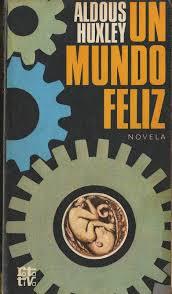 Portada del libro Un mundo feliz, de Aldoux Huxley con dibujo de ruedas dentadas