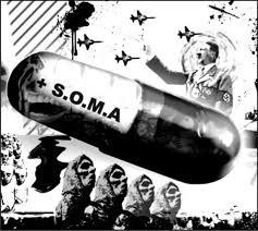 """Dibujo de una pastilla con el letrero """"soma"""", hitler, aviones y un desfile"""