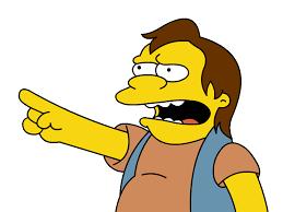 Personaje matón de los simpson, señalando con el dedo y riéndose