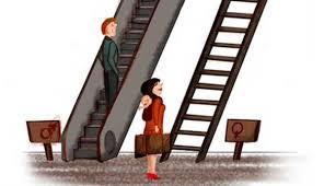 Dibujo de hombre subiendo por escalera mecánica y al lado mujer mirando una escalera de mano por donde ha de subir