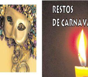 Portada de audiolibro de Youtube Restos de Carnaval, de clarise lispector, composición con vela y foto de careta de carnaval