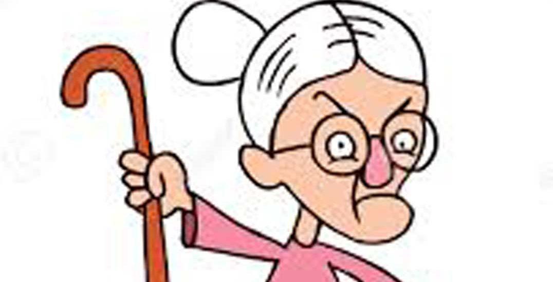 dibujo de abuela de gesto enfadado amenazando con un bastón