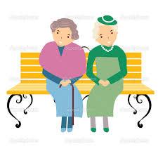 Dibujo infantil de dos señoras ancianas, una con sombrero, sentadas en un banco de parque y sonriendo