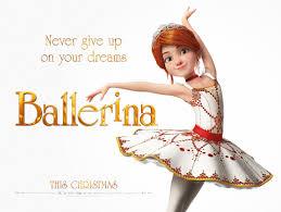 escena de Ballerina, película de dibujos, felicia bailando con letras de la película, es un cartel