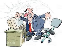 dibujo de hombre rabioso golpeando ordenador y rompiéndolo
