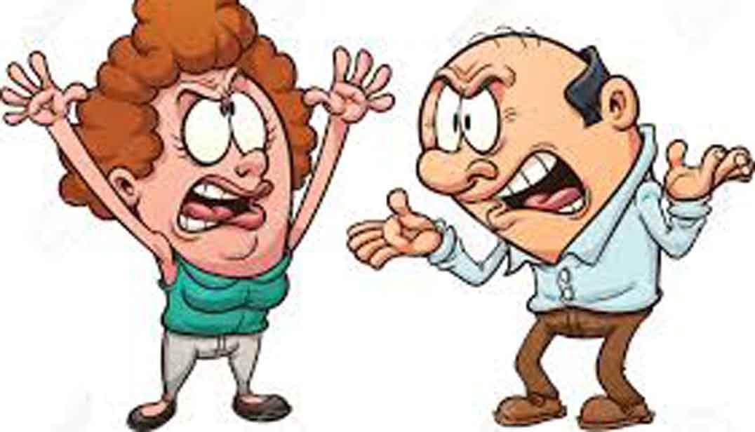 dibujo de comic de hombre y mujer de edad mediana discutiendo, cuerpo entero, color