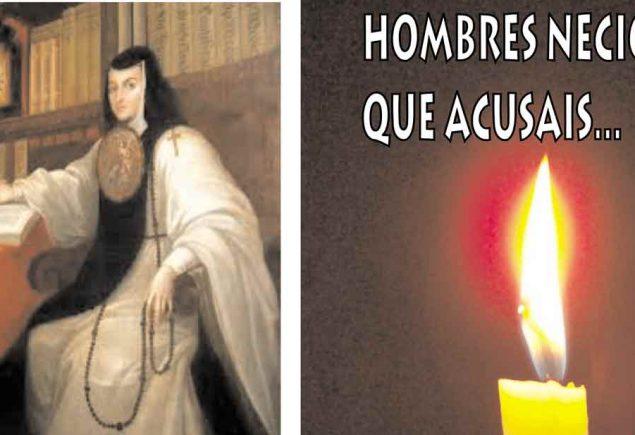 Portada de audiolibro de Youtube, composición con vela y foto de Sor juana Inés de la cruz, poema Hombres necios que acusáis