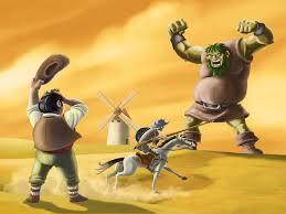 Dibujo de quijote peleando contra un gigante entre molinos de viento mientras sancho le grita. Fondos amarillos>