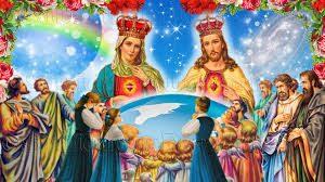 Imagen kitch barroca de jesús y la virgen coronados y devotos rezándole