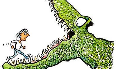 cocodrilo y hombrecito
